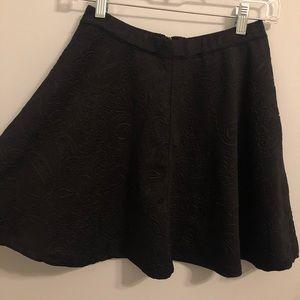 Black patterned skater skirt